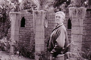 Steve before the Mossy Columns