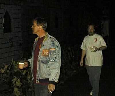 Steve and Bruce at night with coffee and cigarettes